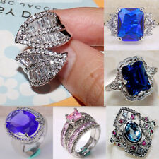 925 Silver Women Man White Topaz Women Jewelry Ring Wedding Engagement Size 6-10