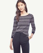 NWT Ann Taylor Striped Extrafine Merino Wool Boatneck Sweater  $79.50 Navy