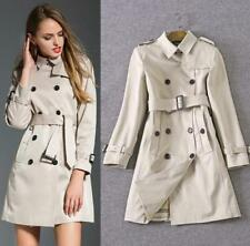 Womens Double Breasted Slim Fit Trench Jacket Coat Outerwear Belt Lapel OL Coats