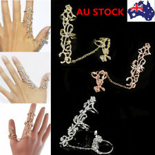 Women Two Finger Ring Hollow Out Flower Crystal Chain Rings Ethnic Retro Jewelry