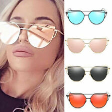 Womens Cat Eye Metal Frame Mirrored Sunglasses Retro Oversized  Glasses Eyewear