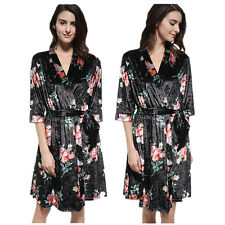 Autumn Winter Women Fashion Long Sleeve Floral Print Sexy V Neck Night Sleepwear