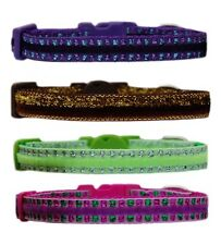 Handmade brown purple cerise pink lime green chihuahua dog puppy collar 3 sizes