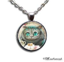 Handmade Glass Dome Bezel Pendant Necklace Alice In Wonderland Cheshire AW113