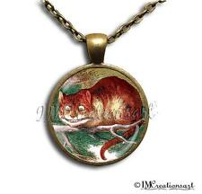 Handmade Glass Dome Pendant Necklace Alice In Wonderland Cheshire the Cat AW102