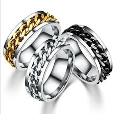 Fashion Stainless Steel Silver Black Gold Chain Men's Band Ring Size 8-13 US