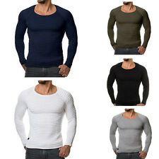Mens Muscle Slim Fit Tee T-Shirt Long Sleeve Striped Casual Stretch Tops Blouse