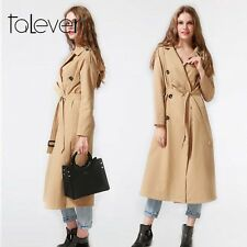 Women Casual Slim 100%Cotton Windbreaker Trench Coat Overcoat Belt Waist Outwear