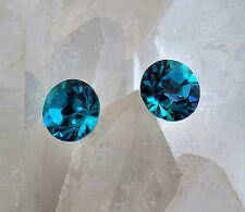 Crystal Stud Earrings 8.4mm Round, Swarovski Rhinestones, 1 Pair, 12 Colors
