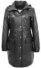 Womens 3/4 Length Parka Duffle Leather Coat with Detachable Hoodie Kyra Black