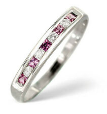 Eternity Ring Pink Sapphire and Diamond White Gold Channel Set Band