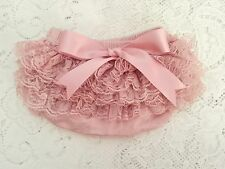Dusty Pink Lace Ruffle Baby Bloomer set,  diaper cover and headband 0-3 months