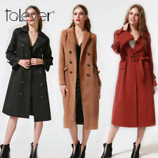 Women Winter Warm Slim Woollen Trench Coat Belt Windbreaker Jacket Overcoat 2017
