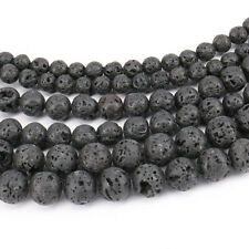 15'' Strand Natural Volcanic Lava Gemstone Round Loose Spacer Beads 4/6/8/10MM