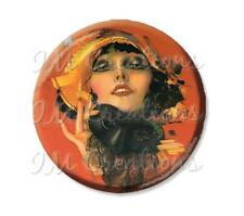 "Handmade 2.25"" Pocket Mirror, Magnet or Pin Vintage 1920's Flapper Masquerade"