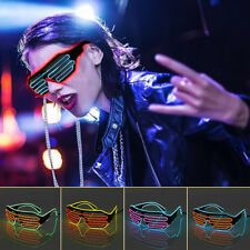 Sound Control Flash EL Wire Glasses Neon LED Light Up Shutter Glow Frame Glasses