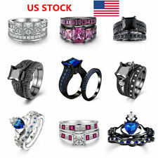 US Women 18K White Black Platinum Plated Cubic Zirconia Ring Set Gifts Jewellery