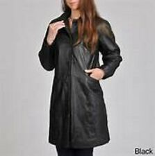 NWT Excelled Button Front Brown  Leather Coat Size Large  Retail $249.95