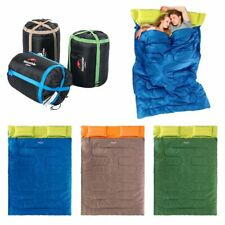 "Huge Double Sleeping Bag 23F/-5C 2 Person Camping Hiking 86""x60"" W/2 Pillows HS"