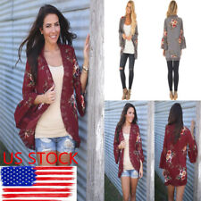 US Women Floral Printed Tops Long Cardigan Flared Sleeve Cover Up Jacket Coats