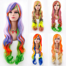 Women Fashion Lady Mixed Color Anime Long Curly Wavy Hair Party Cosplay Full Wig