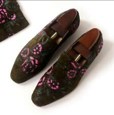 Mens Loafers Slip on Suede Leather Moccasins Floral Casual nightClub Shoes Dress