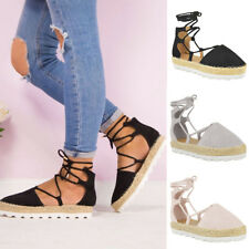 Women Wedge Heel Ankle Strap Sandals Espadrille Lace Tie Up Slingbacks Shoes