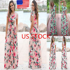 US Womens Floral Short Sleeve Pocket Long Maxi Dress Ladies Summer Boho Sundress