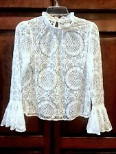 FLYING TOMATO Boho Vintage High Neck Bell Sleeve Sheer Lace Blouse Ivory S-L $58