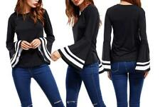 Women Solid Round Neck Long White Stripe Bell Sleeves Slim Fit Top Shirt Blouse