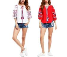 Women Floral Print Ethic Style Tie Neck Hollow Out Puff Sleeve Loose Tops Blouse