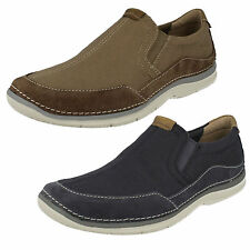MENS CLARKS SLIP ON ELASTIC GUSSETS LIGHTWEIGHT CANVAS CASUAL SHOES RIPTON FREE