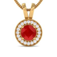 Red Ruby IJ SI Diamond Round Halo Gemstone Pendant Women Solid Gold Certified