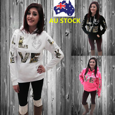 Plus Women Long Sleeve Hoodie Jumper Sweater Sweatshirt Love Print Pullover Coat
