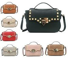LADIES LYDC STUDDED FLAP FAUX LEATHER FASHION OFFICE TOTE BAGS SHOULDER HANDBAG
