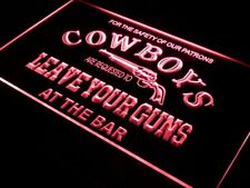 "16""x12"" i783-r Cowboys Leave Guns Bar Beer Neon Sign"