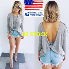 US Womens Long Bat Sleeve Backless Casual T-Shirt Tops Loose Autumn Blouse Tee