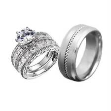 His and Hers Wedding Rings 3 pcs Engagement CZ Sterling Silver Titanium Set GV