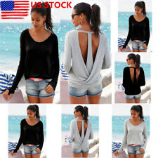 Womens Backless Long Sleeve Pullover Tops Crewneck Loose Casual Blouse T Shirt