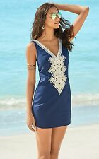 $198 New Lilly Pulitzer JUNIE SHIFT DRESS True Navy Embroidered Gold 2 4