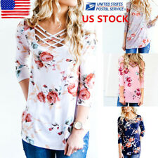 US Womens Front Bandage Floral Tops Long Sleeve Pullover Casual Blouse Shirt Tee