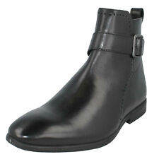 MENS CLARKS BLACK LEATHER ZIP UP BUCKLE CHELSEA ANKLE BOOTS SHOES BAMPTON MID