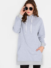 Women Casual Solid Crew Neck Hood Long Sleeve Pocket Asymmetrical Loose Pullover