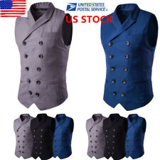 US Mens Solid Casual Formal Waistcoats Work Business Suit Slim Fitted Vest M-3XL