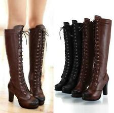 Womens Knee High Boots Long Lace UP Zipper Leather Riding Boots High Heels Shoes