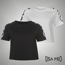 Ladies USA Pro Lightweight Stylish Short Sleeves Cropped T Shirt Top Size 8-18