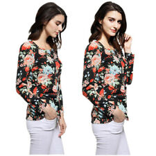 Women's Fall Winter Long Sleeve Flower Print Crew Neck Loose Casual Blouse Tops