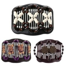 Easy Magic Wood Double Beads Hair Comb Clip Stretchy Women Hair Accessories