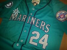 New! GREEN Seattle Mariners #24 Ken Griffey Jr. Throwback 2patches sewn Jersey