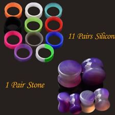 12pair Stone & Silicone Ear Gauges Earlet Flare Ear Plugs Expander Tunnel Plug